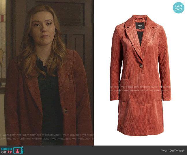 Astrid Corduroy Longline Blazer by Only worn by Nancy Drew (Kennedy McMann) on Nancy Drew