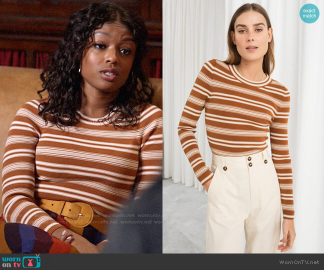 & Other Stories Fitted Striped Top worn by Ali Finer (Javicia Leslie) on God Friended Me