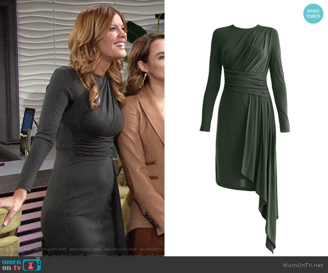 Paisie Jersey Dress With Ruched Detail & Side Skirt Drape In Dark Green worn by Phyllis Summers (Michelle Stafford) on The Young & the Restless