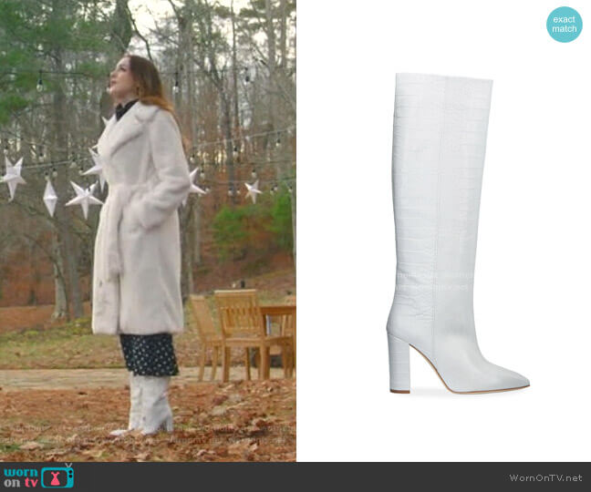 Croc-Embossed Leather Knee Boots by Paris Texas worn by Fallon Carrington (Elizabeth Gillies) on Dynasty