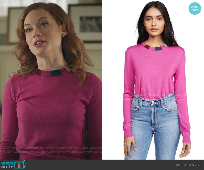 Striped Collar Pullover by Paul Smith worn by Zoey Clarke (Jane Levy) on Zoeys Extraordinary Playlist