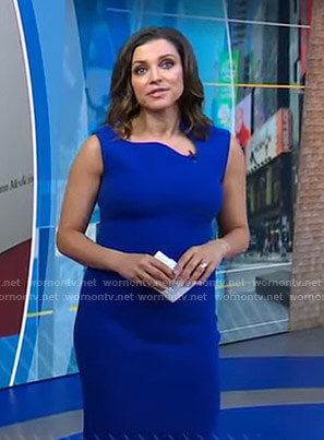 Paula's blue asymmetric neck dress on Good Morning America
