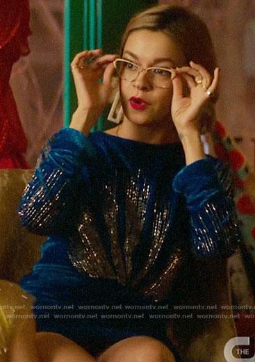 Pepper's blue embellished velvet dress on Katy Keene