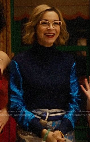 Pepper's blue metallic sleeve sweater on Katy Keene