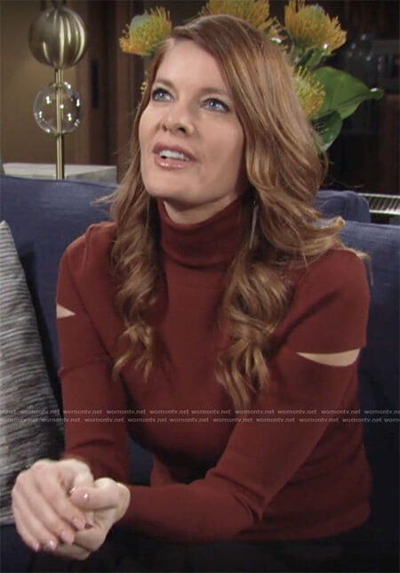Phyllis's brown turtleneck with cutouts on The Young and the Restless