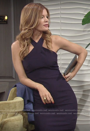 Phyllis's navy cross neck dress on The Young and the Restless