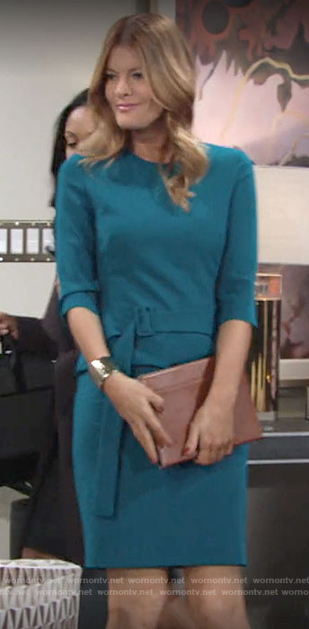 Phyllis's teal green belted dress on The Young and the Restless