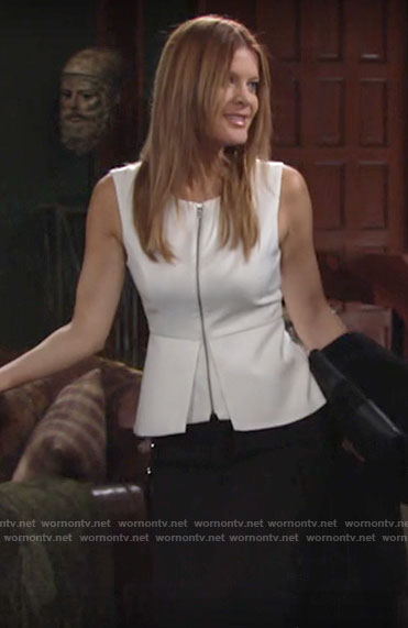Phyllis's white zip-front peplum top on The Young and the Restless