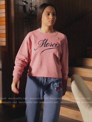 May's pink Merci cropped sweatshirt on 9-1-1