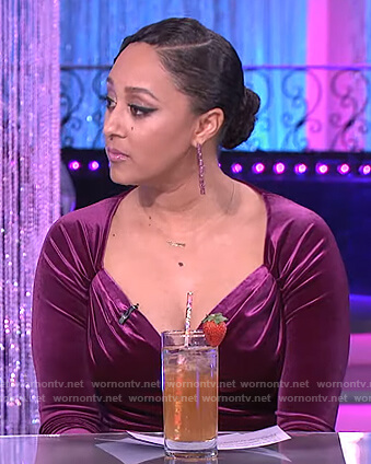 Tamera's pink velvet ruched dress on The Real