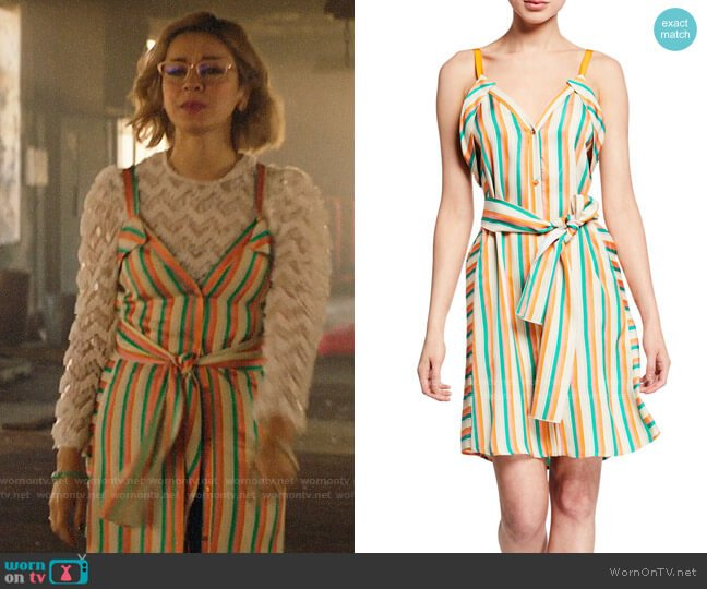 Pinko Andreina Striped Button-Front Dress worn by Pepper Smith (Julia Chan) on Katy Keene