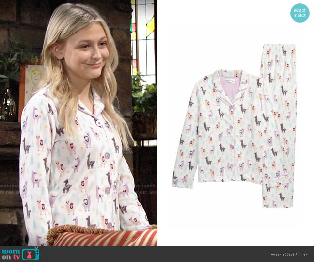PJ Salvage Fa La La Lounge Two-Piece Pajamas worn by Faith Newman (Alyvia Alyn Lind) on The Young & the Restless