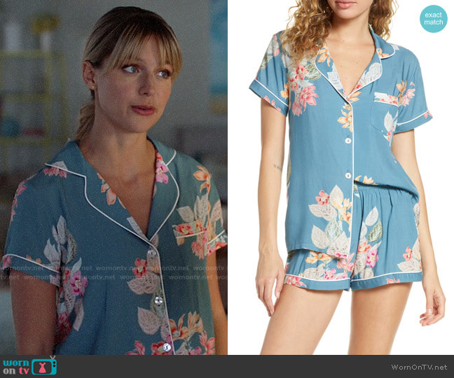 Plum Pretty Sugar Floral Print Short Pajamas in Boheme worn by Kara Danvers (Melissa Benoist) on Supergirl