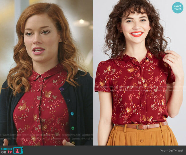 Articulated Charm Button-Up Top by Princess Highway worn by Zoey Clarke (Jane Levy) on Zoeys Extraordinary Playlist