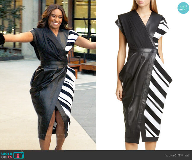 Proenza Schouler Stripe Silk Crepe & Leather Midi Wrap Dress worn by Rachel Audubon (Michelle Bathe) on All Rise