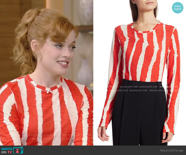 Zebra Stripe Long Sleeve T-Shirt by Proenza Schouler worn by Jane Levy on Live with Kelly and Ryan