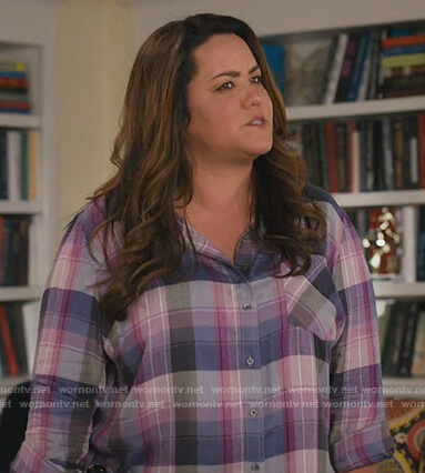 Katie's purple plaid shirt on American Housewife