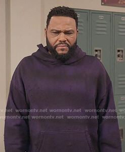 Andre's purple tie dye hoodie on Black-ish