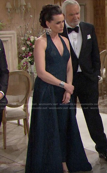 Quinn's teal blue halter neck gown on The Bold and the Beautiful