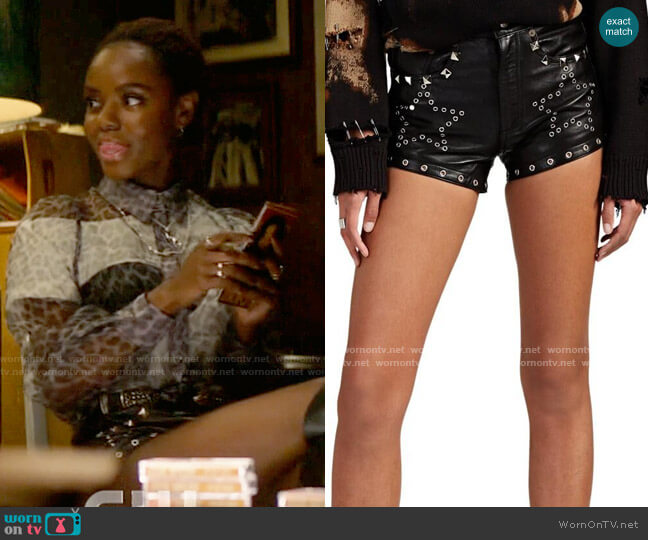 r13 5 Pocket Leather Eyelet Shorts worn by Josie McCoy (Ashleigh Murray) on Katy Keene