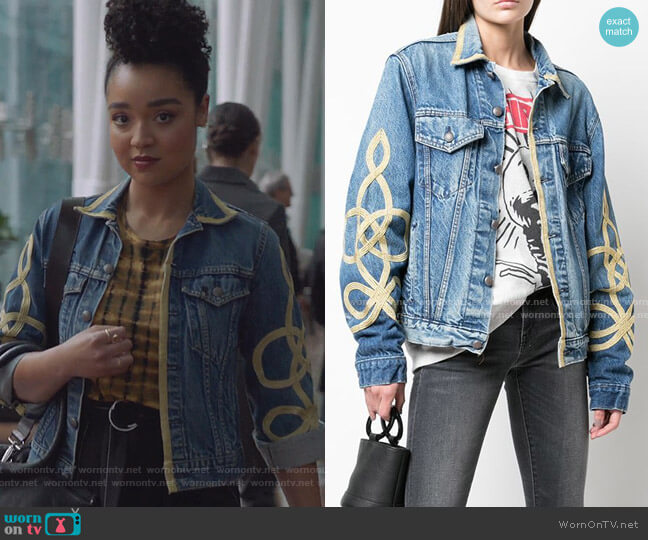 Gold Piped Denim Jacket by R13 worn by Kat Edison (Aisha Dee) on The Bold Type