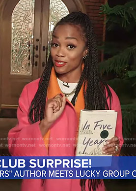 Rachel Lindsay's pink and orange coat on Good Morning America