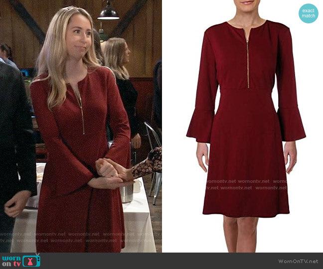 Rachel Zoe Zip-Neck Bell Sleeve Dress worn by Josslyn Jacks (Eden McCoy) on General Hospital