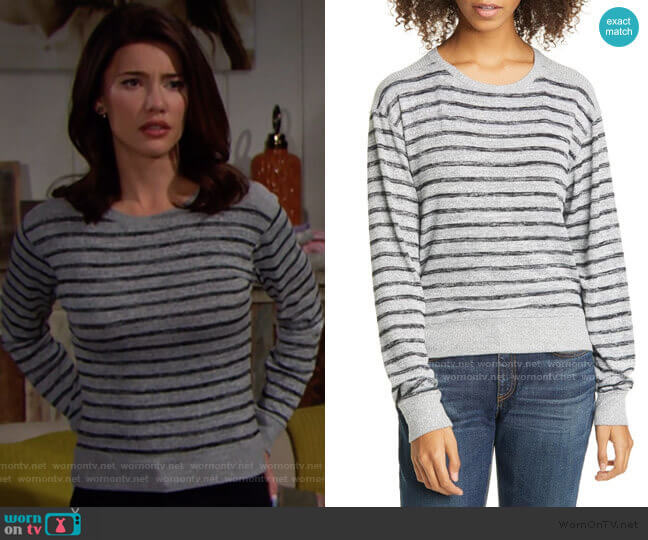 Rag and Bone Avryl Striped Sweater worn by Steffy Forrester (Jacqueline MacInnes Wood) on The Bold & the Beautiful