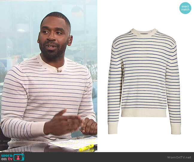 Harlow Striped Crewneck Sweater by Rag & Bone worn by Justin Sylvester  on E! News