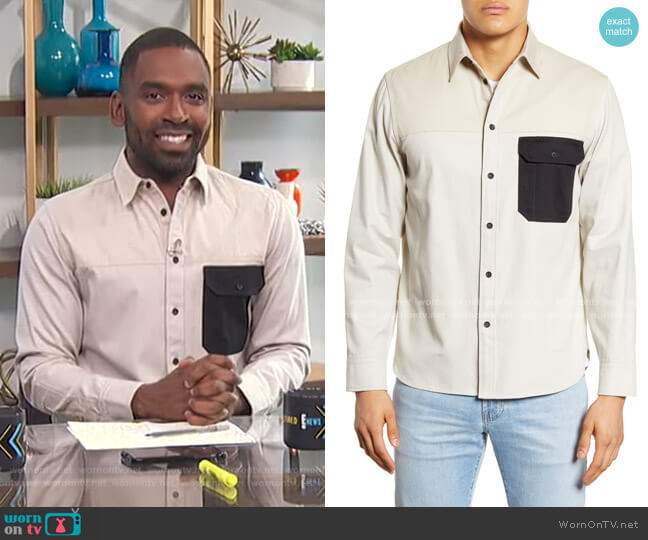 Franklin Chore Slim Fit Button-Up Shirt by Rag & Bone worn by Justin Sylvester  on E! News
