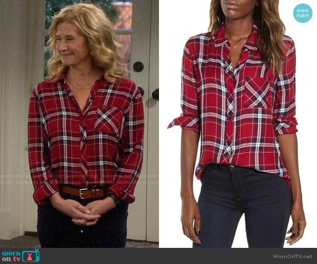 Rails Hunter Shirt in Crimson Navy worn by Vanessa Baxter (Nancy Travis) on Last Man Standing