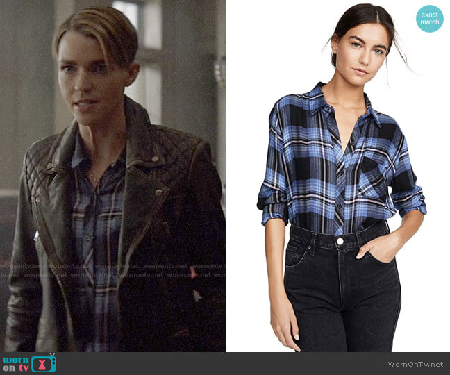 Rails Hunter Shirt in Midnight Blue Pink worn by Kate Kane (Ruby Rose) on Batwoman