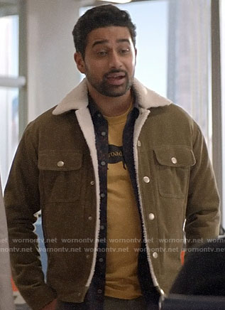 Rakesh's corduroy and sherpa jacket on God Friended Me