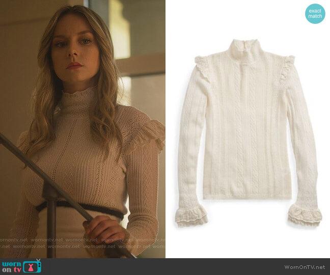 Ralph Lauren Ruffled Pointelle Wool Sweater worn by Carla Roson Caleruega (Ester Exposito) on Elite