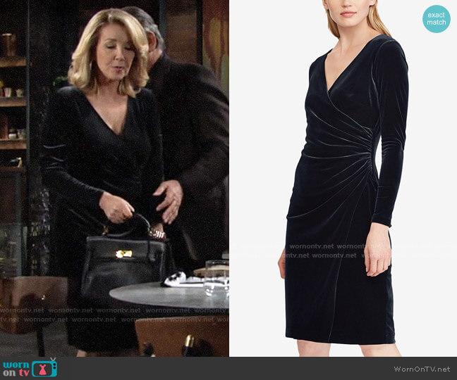 LAUREN Ralph Lauren Velvet Surplice Dress worn by Nikki Reed Newman (Melody Thomas-Scott) on The Young & the Restless