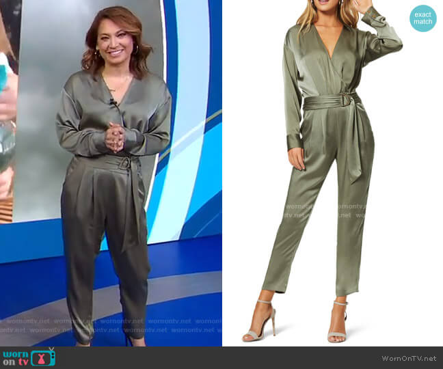 Crosby Long Sleeve Satin Jumpsuit by Ramy Brook worn by Ginger Zee  on Good Morning America
