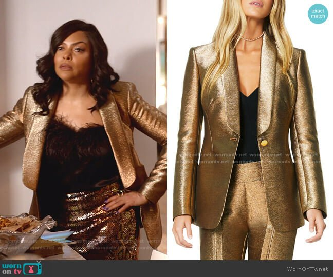 Dahlia Metallic Shawl-Collar Jacket by Ramy Brook worn by Cookie Lyon (Taraji P. Henson) on Empire