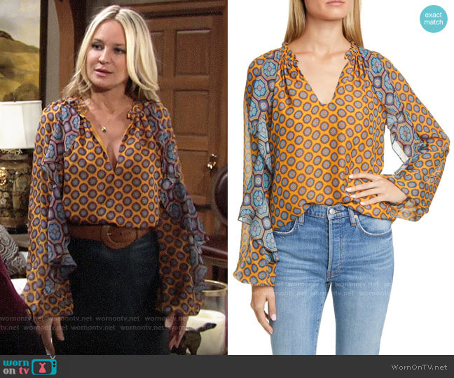 Ramy Brook Brenna Top worn by Sharon Collins (Sharon Case) on The Young & the Restless