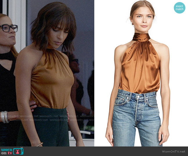 Ramy Brook Lori Top in Copper worn by Edie Palmer (Megalyn Echikunwoke) on Almost Family