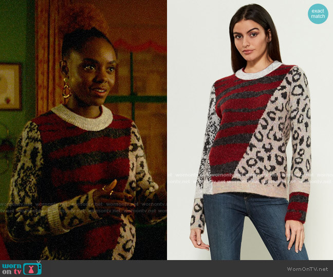 RD Style Multi Pattern Crewneck Sweater worn by Josie McCoy (Ashleigh Murray) on Katy Keene