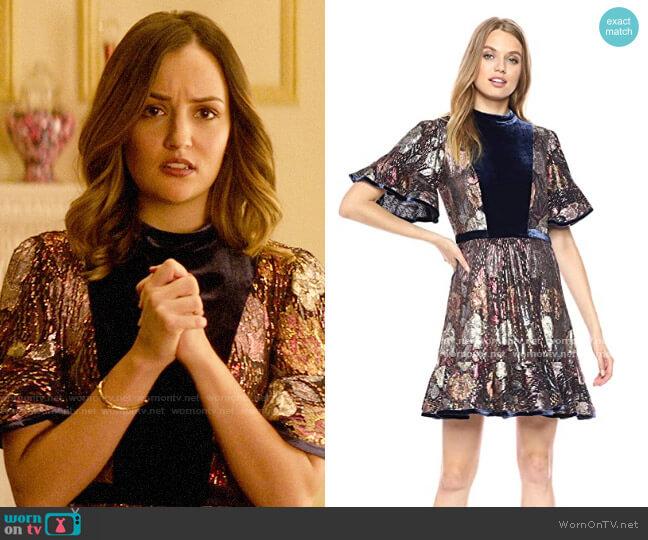 Rebecca Taylor Short Sleeve Clip & Velvet Dress worn by Patricia Kline (Erica Pappas) on Katy Keene