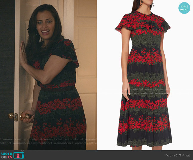 Floral A-Line Midi Dress by RED Valentino worn by Grace Stone (Athena Karkanis) on Manifest
