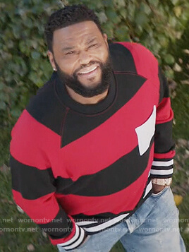 Andre's black and red stripe rugby sweatshirt on Black-ish