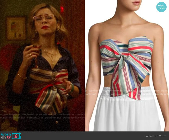 Red Carter Perth Striped Strapless Cropped Top worn by Pepper Smith (Julia Chan) on Katy Keene