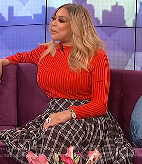 Wendy's red cutout sweater on The Wendy Williams Show