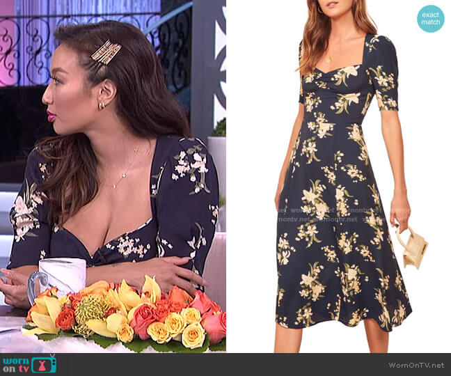 Matin Ruched Neck Midi Dress by Reformation worn by Jeannie Mai  on The Real