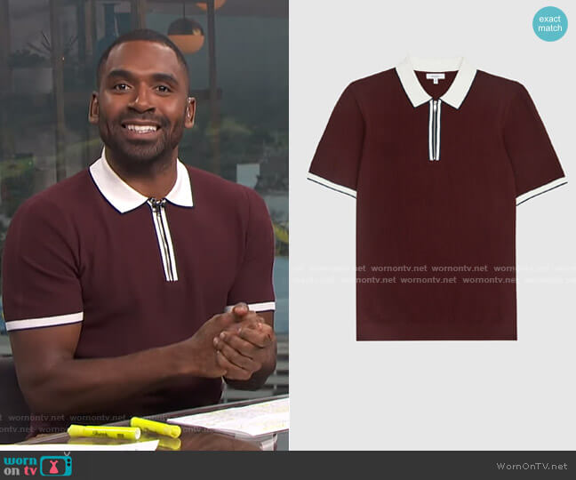 Tobago Tipped Zip Polo by Reiss worn by Justin Sylvester  on E! News