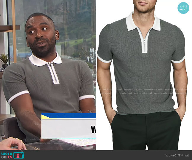 Tobago Cotton Textured Tipped Zip Polo by Reiss worn by Justin Sylvester  on E! News