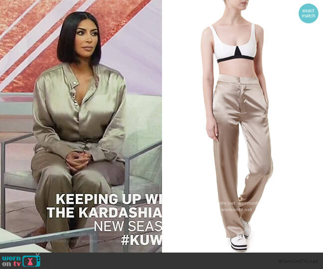 Ory Silk Trousers by Reuben Avenue worn by Kim Kardashian  on Keeping Up with the Kardashians
