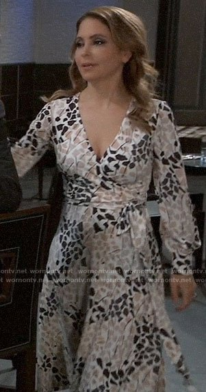 Olivia's printed wrap dress on General Hospital
